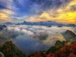 view of mountain lake under fog in south korea