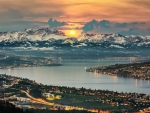 sunset over panoramic lake zurich
