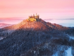 hilltop hohenzollern castle germany in winter