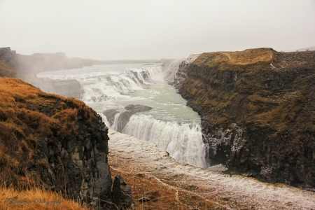 Gullfoss Waterfall, Iceland - mountains, cascade, River, rocks, water