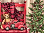 Teddybear and Truck in Chair F