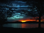 magnificent dark lake sunset