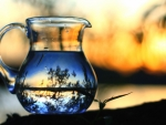 sunset in a glass pitcher