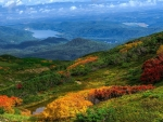 colorful mountainside panorama