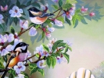 Chickadees in Garden
