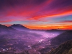 red sky over indonesian valley