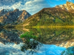 spectacular mountain reflections in a lake hdr