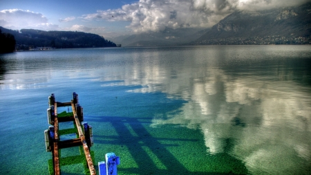 broken pier in a clear lake - pier, clear, mountains, clouds, reflection, lake