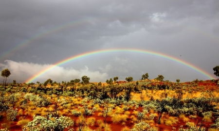 Double Rainbow - Shrubs, Field, Rainbow, Sky