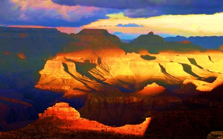View from the South Rim, Grand Canyon - clouds, sky, sunshine, usa, arizona, mountains