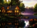 Wooden cabin by the lake