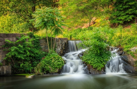 Waterfalls - Nature, Trees, Forest, Mountain