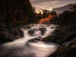 The River Orchy in the Scottish Highlands at Sunset
