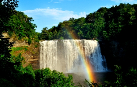 Waterfall and Rainbow - Nature, pretty, Rainbow, Waterfall