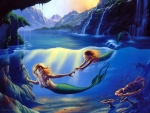 Mother and child mermaids