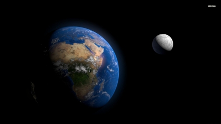 earth and the moon - moon, earth, space, planet