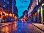 cobblestone street in montreal in evening hdr
