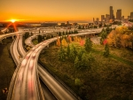 highways into seattle at sunset