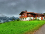 house in the mountains of germany hdr