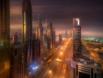 dubai cityscape on a misty night hdr