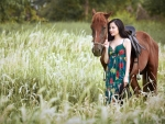 Beautiful Cowgirl and her Horse