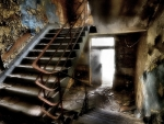 stairwell in an abandoned building hdr