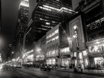 street in manhatten at night in b&w