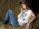 Cowgirl In The Barn..