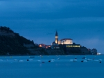 church in a seaside slovenian town in evening