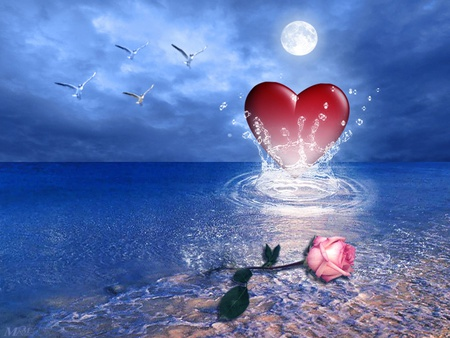 Heart Of The Ocean - rose, sky, animal, heart, water, flower, bird, moon, love, sea, ocean
