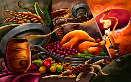 Thanksgiving Day - painted meal, thanksgiving day, food