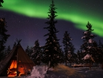 northern light over a wigwam