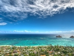 panorama of an hawaiian seaside town hdr