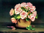 Nantucket Basket of Pink Roses