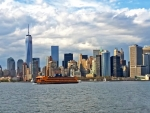 staten island ferry reaching downtown manhattan