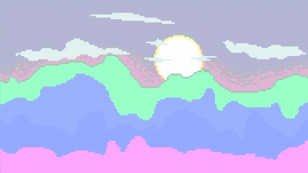 Comfy mountains - minimalist, sunset, pixelart, pixels, pastel
