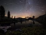 Perseid Meteors over Mount Shasta