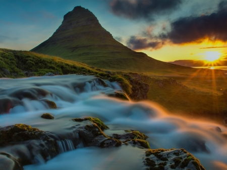 Mountain Falls - sunrise, rays, clouds, rocks, waterfall, mountain, nature