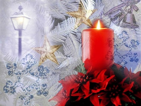 Christmas Candle - feast, holidays, candle, merry christmas, xmas, christmas, cold, x-mas, love, winter
