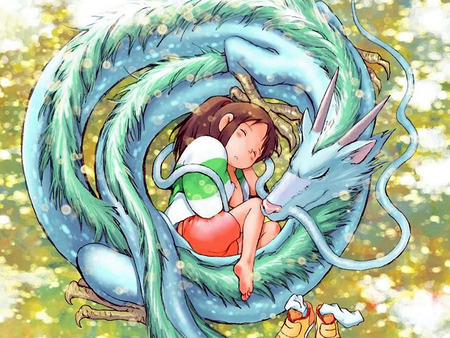 Spirited Away - chihiro, haku, dragon, anime, spirits