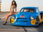 Bikini Model and a Chevy HHR Dragster