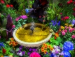 ✿⊱•╮Fountain in Garden╭•⊰✿