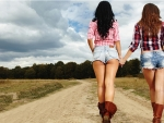 Cowgirls Out For A Walk..