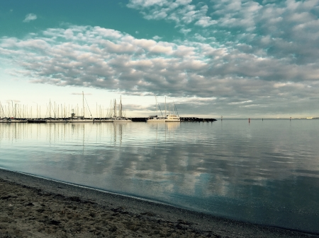 Still Morning Melbourne - Sand, SKy, Yachts, Australia, Sea, Clouds, Beach, Melbourne, Water