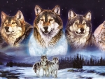 Wolves in the Snow and Sky