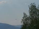 Helicopter with Water Bucket, Bighole Mountains, Tie Canyon Fire