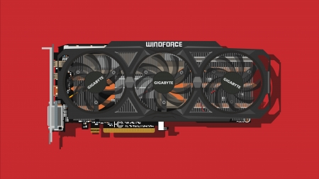 Minimalistic Gigabyte Graphics Card - wallpaper, Graphics Card, electronics, gigabyte, tech, windforce, gaming, Minimalistic