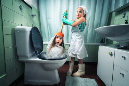 Just an unclogged toilet - blue, situation, sister, funny, couple, girl, children, toilet, john wilhelm, white