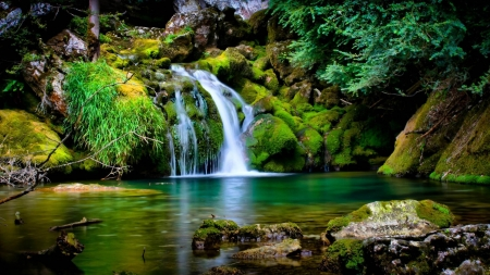 Waterfall - waterfall, green, lake, nature