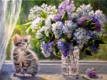 Kitten and Lilacs